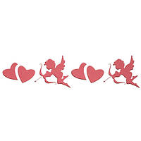 Трафарет многоразовый 10х24 см Купидон и сердца