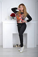 Брендовый турецкий костюм с принтом «Цветы» от 42 по 44 размер, фото 1