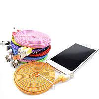 Кабель USB/microUSB 1м ткань (зарядка+DATA-кабель) (цвета в асс.)*1693
