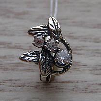 Серебряные серьги со вставками из фианита, 6 камней, фото 2