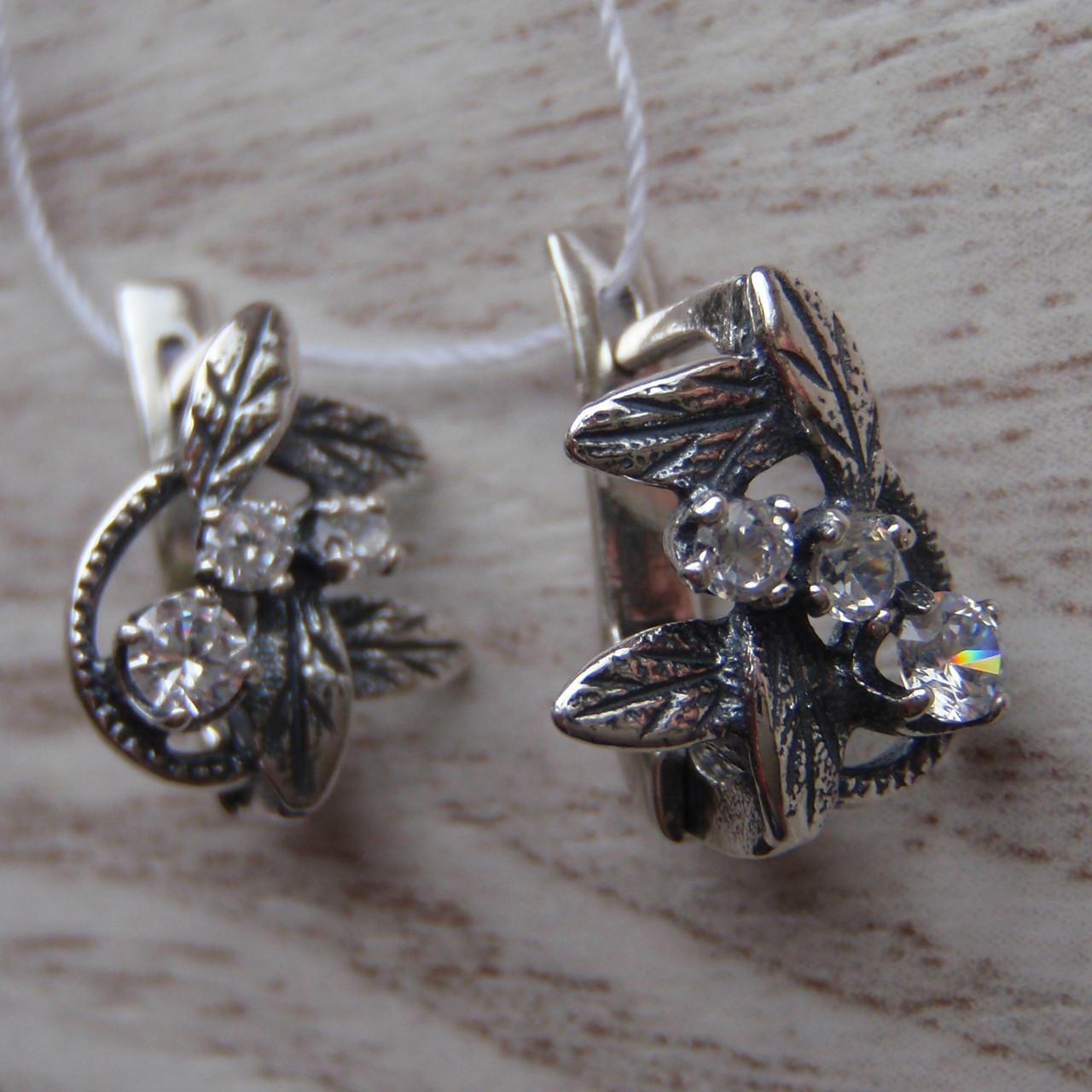 Серебряные серьги со вставками из фианита, 6 камней