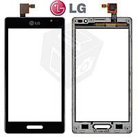 Сенсорный экран (touchscreen) для LG Optimus L9 P760 / P765 / P768, c рамкой, оригинал, черный
