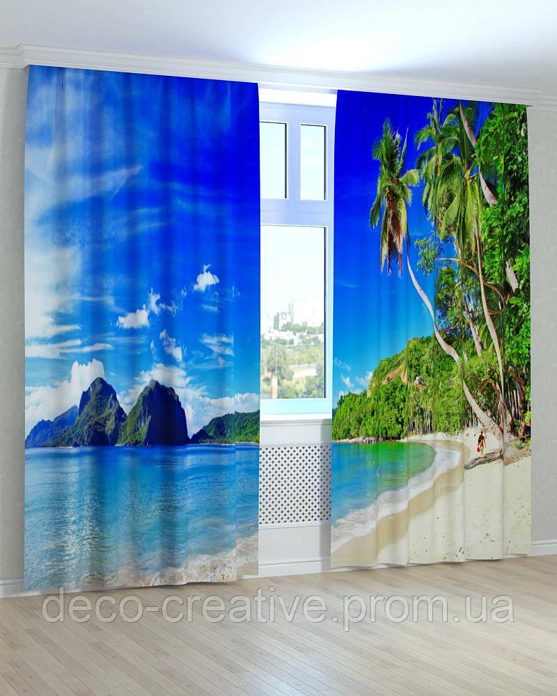 Фотошторы берег с пальмами