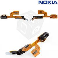 Шлейф для Nokia Lumia 925, коннектора зарядки, коннектора наушников, с коннектором, с микрофоном (оригинал)