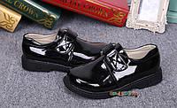 Туфли лакированые для мальчика на липучках  19 см