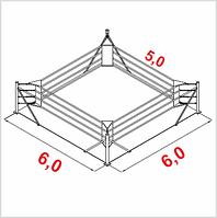 Боксерский ринг напольный тренировочный, ковер 6х6 канаты 5х5