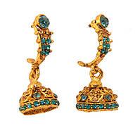 Серьги индийские с голубыми камнями