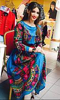 Платье миди из платка в стиле Матрешка