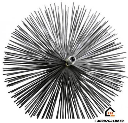 Щётка металлическая с резьбой для чистки дымаря  500 мм, фото 2