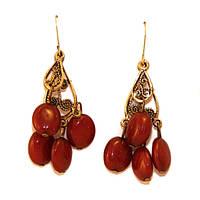 Женские серьги красные гроздь