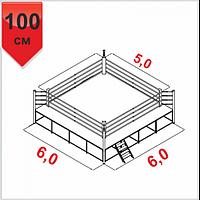 Боксерский ринг клубній помост 6х6х1м, канаты 5х5м