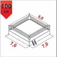 Боксерский ринг клубный помост 7х7х1м, канаты 6х6м