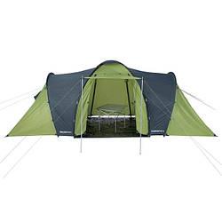 Шестиместная палатка с коридором и комнатами по бокам вместит в себя любую огромную семью