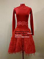 Платье для бального танца - латина красного цвета