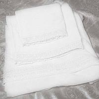 Набор махровых полотенец с кружевом 3 шт IZOLDA белый