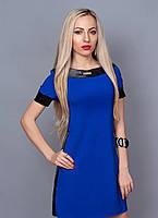 """Модное молодежное платье с кожаными вставками  - """"Виола"""" код 382"""