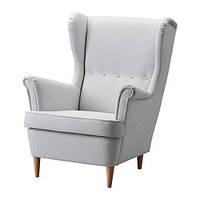"""IKEA """"СТРЭНДМОН"""" кресло с подголовником, Нордвалла светлосерый"""