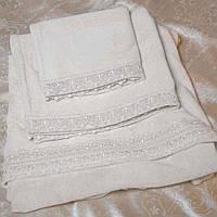 Набор махровых полотенец с кружевом 3 шт. ISA кремовый