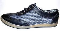 Мужские туфли кожа натуральная текстиль на шнурках синие  Uk0219