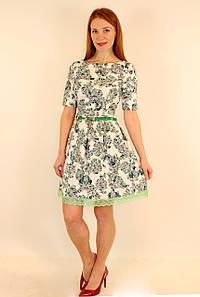 Платье жаккард с пышной юбкой 42-48 р (зеленый, электрик, черный )