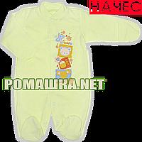 Человечек для новорожденного р. 56 с начесом ткань ФУТЕР 100% хлопок ТМ Виктория 3038 Зеленый