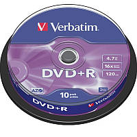 Диск Verbatim DVD+R 4.7 GB/120 min 16x Cake Box 10шт (43498) Silver