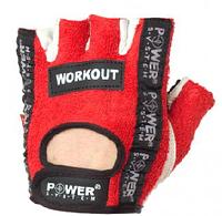 Перчатки для тяжелой атлетики Power System WorkOUT красные