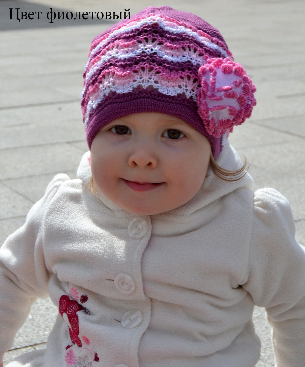 Детская ажурная шапка на весну