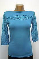 Блуза трикотажная с ажурными вставками бирюзовая