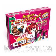 Игра Стратег 386 Твистер Super 2 в 1  игровое поле 180х130 мм, малое игровое поле, 2 рулетки