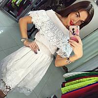 Элегантное женское нарядное платье Х/Б и кружево