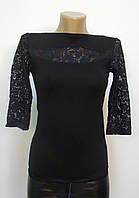Блуза трикотажная с ажурными вставками черная, фото 1