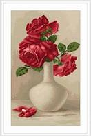 """Набор для вышивания нитками  """"Красные розы в вазе"""""""