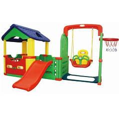 Детский игровой домик JM 804B с горкой, качелей и баскетбольным кольцом