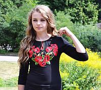 Женская футболка-вышиванка на осень Мак богатый до 56 размера