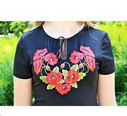 Женская футболка-вышиванка короткий рукав Мак богатый до 56 размера, фото 2
