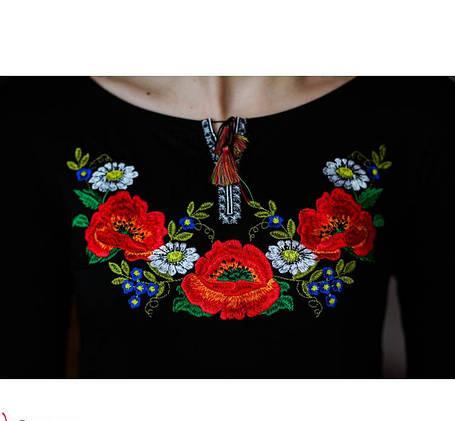 Женская вышиванка Роскошная цвет черный до 56 размера, фото 2