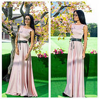 Элегантное женское платье в пол дорогой атлас