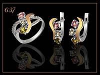 Комплект серебряный женский с золотом и полудрагами