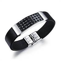 Кожаный браслет черный со стальными вставками, фото 1