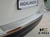 Накладка на задний бампер на Тойота Хайлендер с 08-14 (нерж) с загибом Nata Nico.