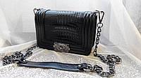 Клатч женский Chanel Le Boy (Шанель Бой), рептилия, чёрный, маленький