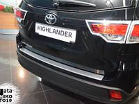 Накладка на задний бампер на Тойота Хайлендер с 2014> (нерж) с загибом Nata Nico.