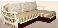 Угловой диван еврокнижка Санта Крус с подлокотниками из дерева