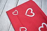 Лоскут ткани №176  красного  цвета с изображением сердечек-валентинок белого цвета, размер 19*160 см, фото 3