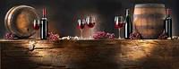 Стеклянный фартук для кухни - скинали Бочки с вином