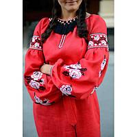 Платье-рубашка красное с белыми розами, фото 1