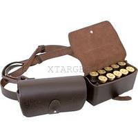 Кожаный футляр на 20 патронов для гладкоствольного оружия, 2-х секционный