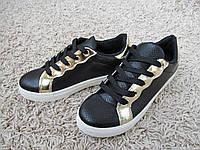 Кроссовки-кеды эко кожа с золотым декором, кроссовки повседневные, слипоны , слиперы , криперы , кеды, фото 1