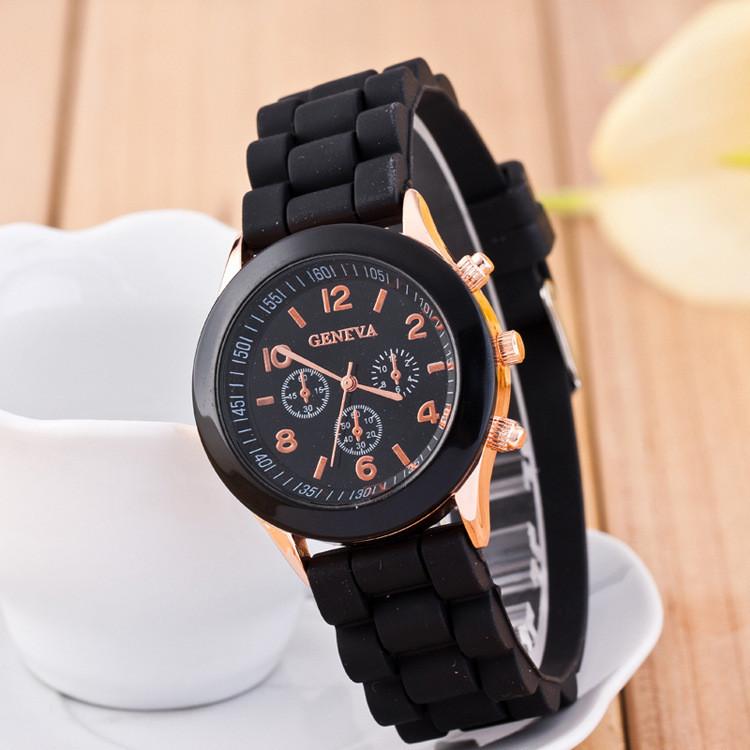 Женские наручные силиконовые часы Geneva black